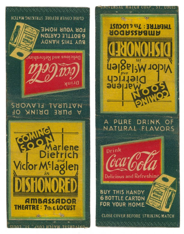 Coca-Cola matchbook 1931