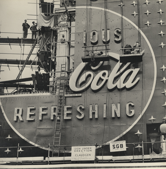 Construction of neon sign, 1954
