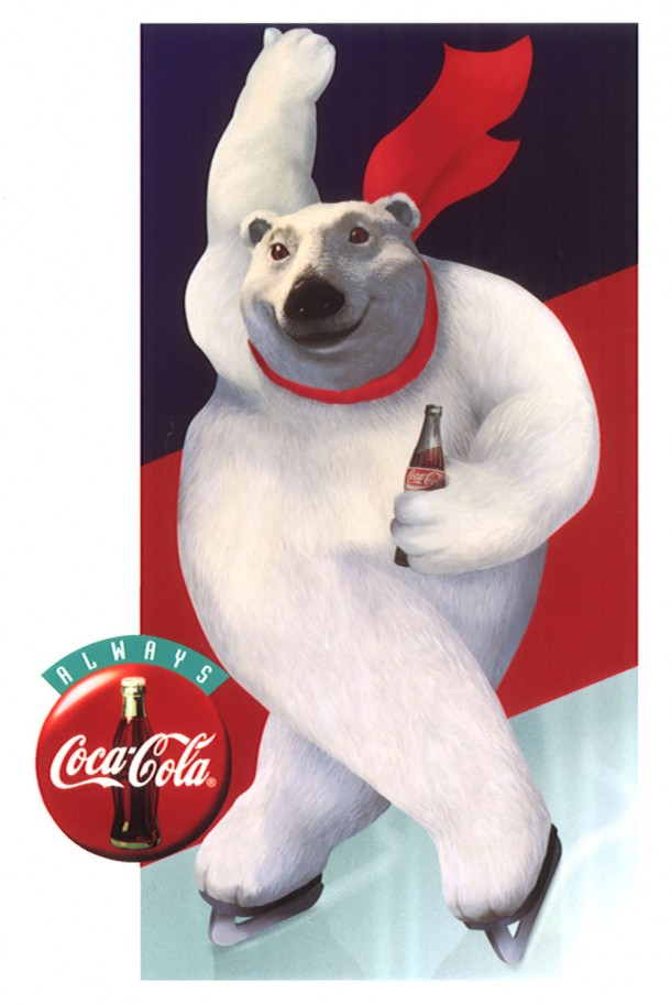 Coca-Cola polar bear ice skating 1995