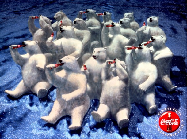 "Coca-Cola polar bears ""Northern lights"" 1993"