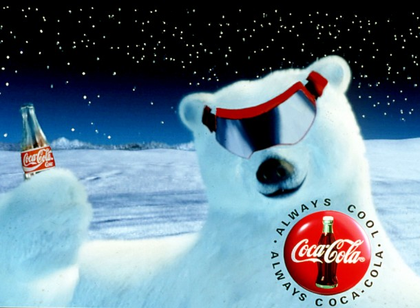 Coca-Cola polar bear with ski goggles 1995