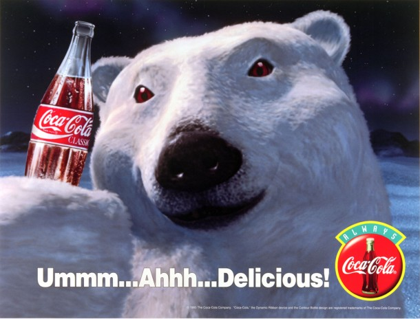 "Coca-Cola polar bear ""Ummm... Ahhh... Delicious!"" 1993"