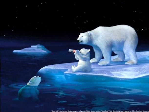 Coca-Cola polar bears on ice