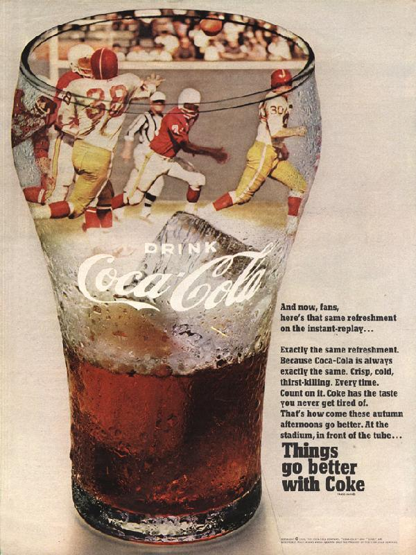 And now, fans, here's that same refreshment on the instant-replay..., 1968