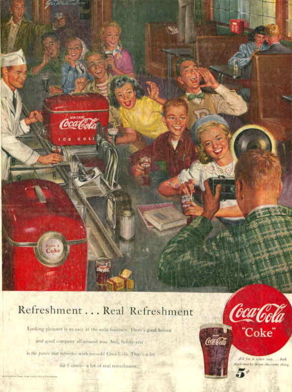 Coca-Cola refreshment... real refreshment 1950