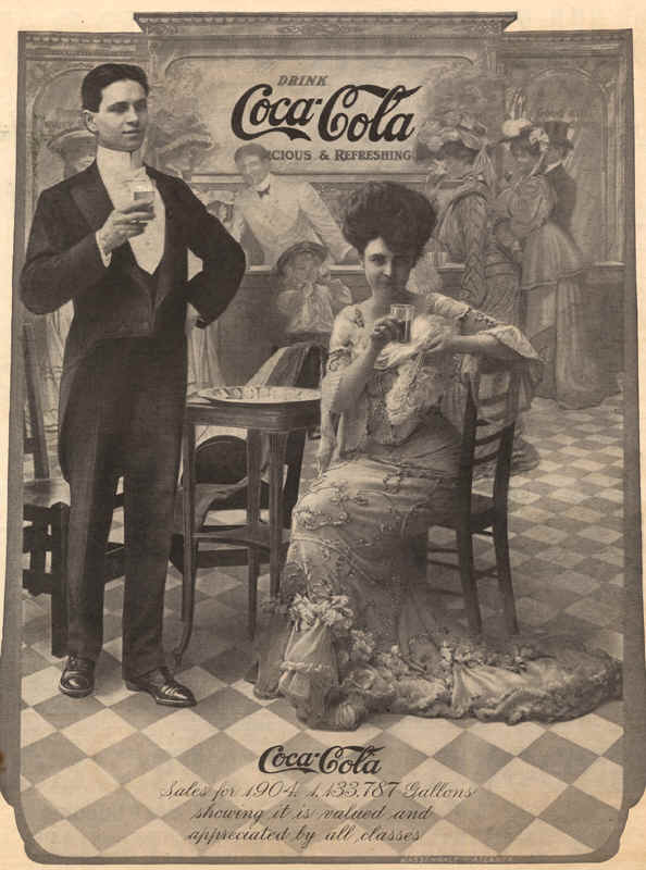 Coca-Cola Sales for 1904. 1.133.787 gallons showing it is valued and appreciated by all classes, 1905 ad.