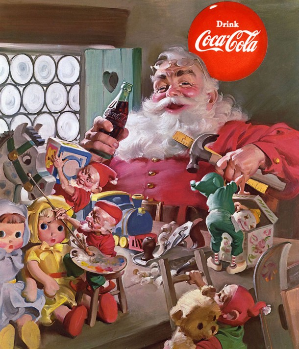 The 1953 Coca-Cola Santa artwork features one of the longest-lasting slogans in Coca-Cola history: The Pause That Refreshes, introduced in 1929.