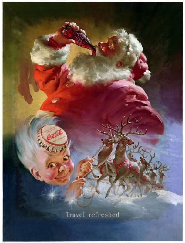 In the 1949 Coca-Cola Santa Claus artwork, Santa appears with another character created by artist Haddon Sundblom - Sprite Boy.