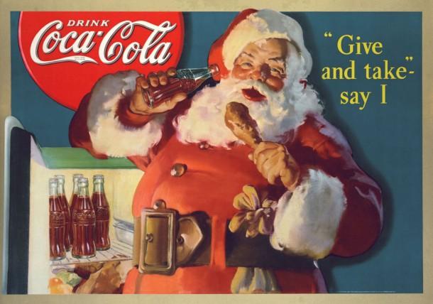 This cardboard store display based on the 1937 original painting shows Santa Claus raiding the refrigerator.