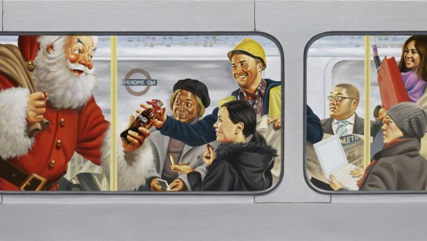 Santa is giving gifts of Coca-Cola to a group of passengers on the underground metro 2009