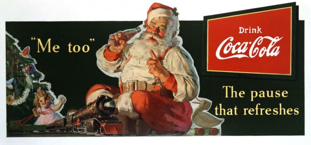 Coca-Cola Santa playing with the toys 1936