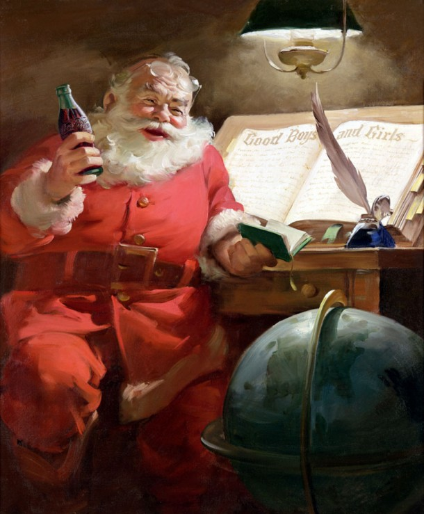 The Coca-Cola Santa Claus artwork from 1951 shows Santa reading a list of good boys and girls; there is no list of bad children.