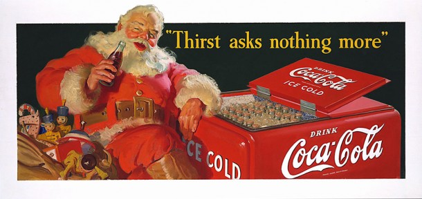 In the 1941 Coca-Cola holiday advertising, Santa relaxes next to a cooler typical of the time.