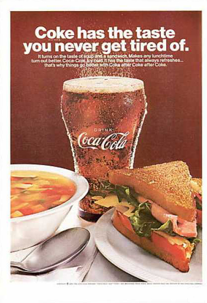 Coca-Cola, soup and sandwich 1967