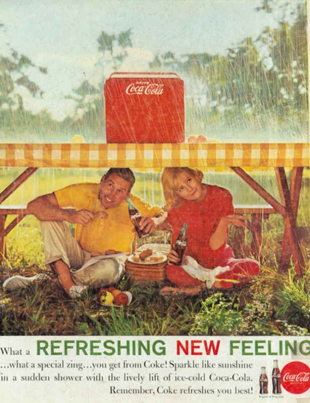 Sparkle like sunshine in a sudden shower with the lively lift of ice-cold Coca-Cola 1961