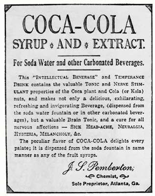 1880s - Coca-Cola syrup and extract