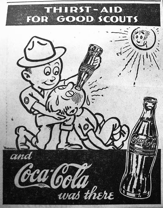 "Coca-Cola ad from ""The boy scouts of America"" newspaper 1936"