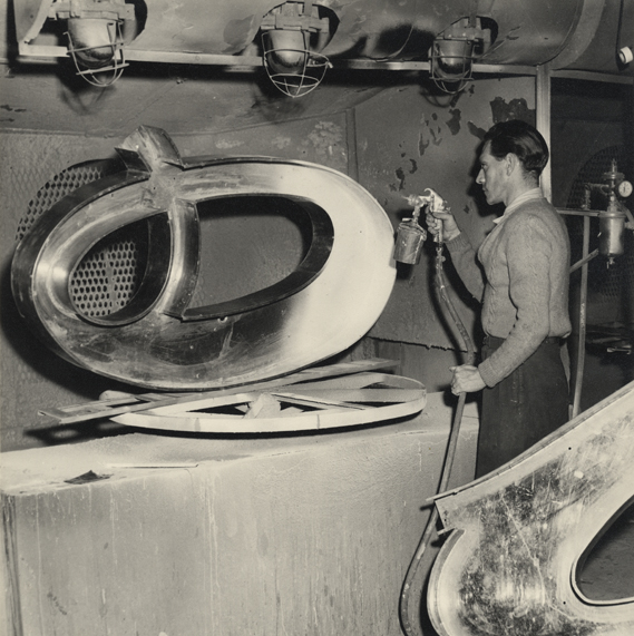 The manufacture of the sign, 1954