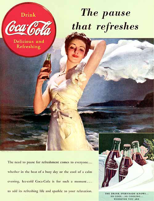 """""""The Pause That Refreshes"""" 1939 by Gil Elvgren"""