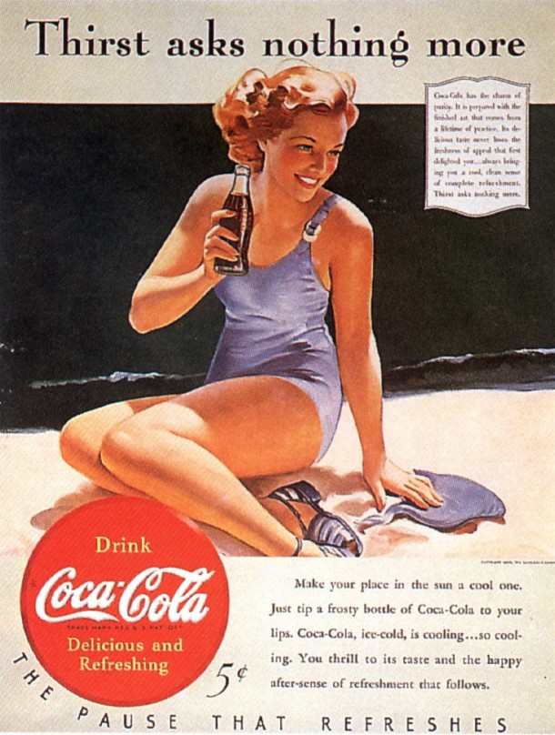 """Thirst asks nothing more"" by Gil Elvgren"
