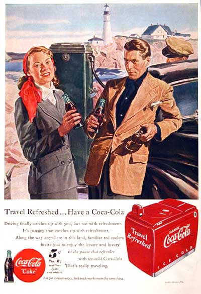 1949 Coca Cola advertisement. Illustrated in vivid color at the seaside with an ice cooler below. Price still included the 2¢ wartime tax.