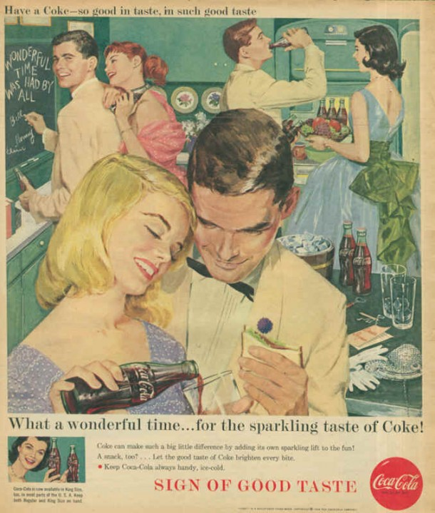 What a wonderful time... for the sparkling taste of Coke! 1958