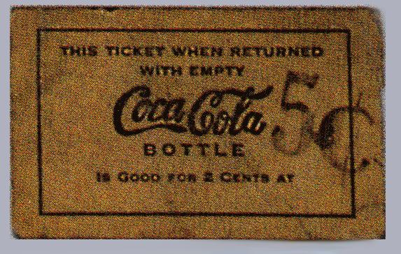 Coca Cola century deposit ticket