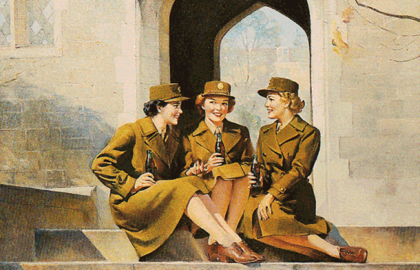 Female officers drinking Cola-Cola