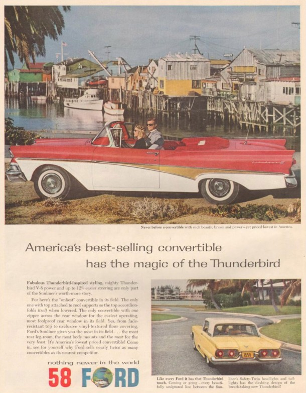 America's best-selling convertible has the magic of the Thunderbird, 1958