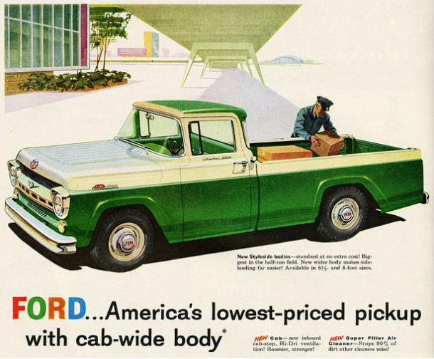 Ford... America's lowest-priced pickup with cab-wide body, 1957