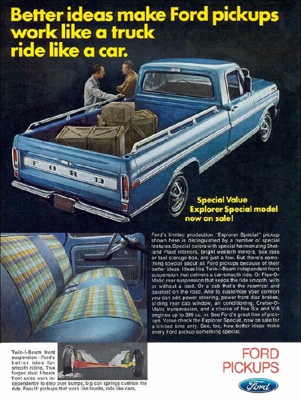 Better ideas make Ford pickups work like a truck ride like a car, 1970