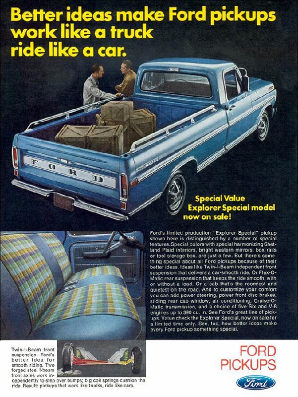Better ideas make Ford pickups work like a truck ride like a car, 1970