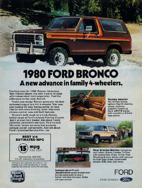 Ford Bronco a new advance in family 4-wheelers, 1980