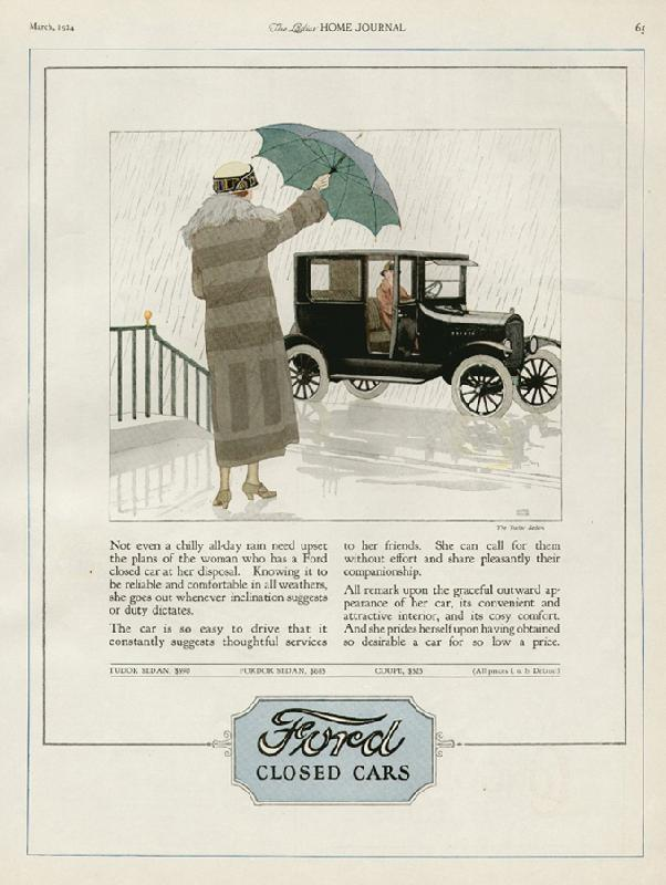 Not even a chilly rain need upset the plans of the woman who has a Ford closed car at her disposal, 1924