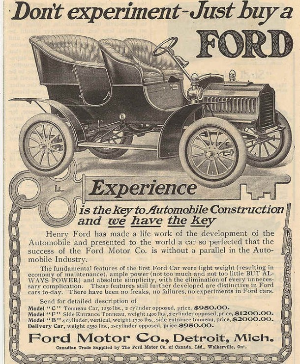 Don't experiment - Just buy a FORD, 1905