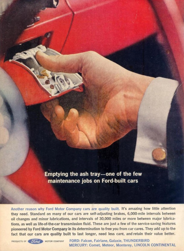 Emptying the ash tray... one of the few maintenance jobs on Ford built cars, 1962
