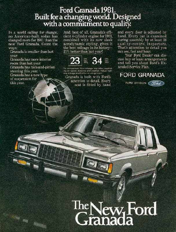 Ford Granada, built for a changing world. Designed with a commitment to quality, 1981
