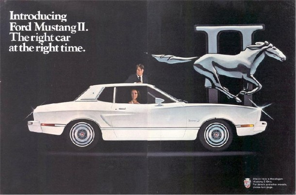 Introducing Ford Mustang II. The right car at the right time, 1974