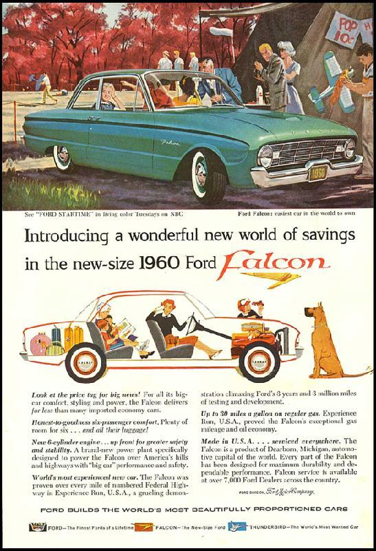 Introducing a wonderful new world of savings in the new-size Ford Falcon, 1960