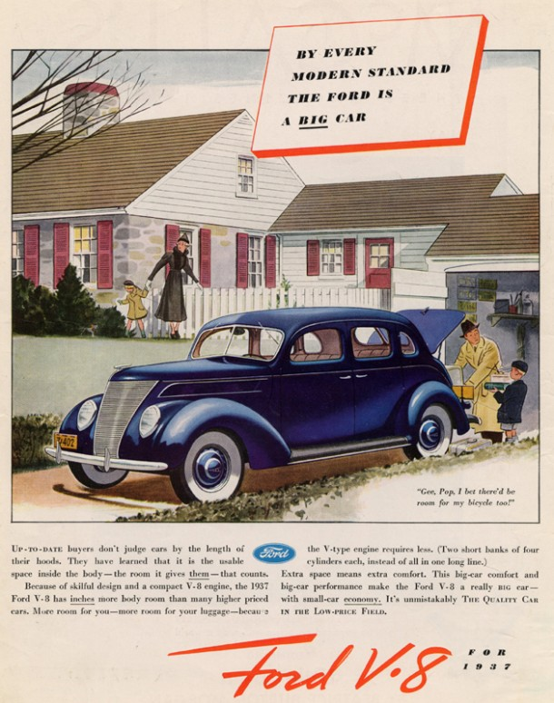 """By every modern standard the Ford is a big car"", 1937"