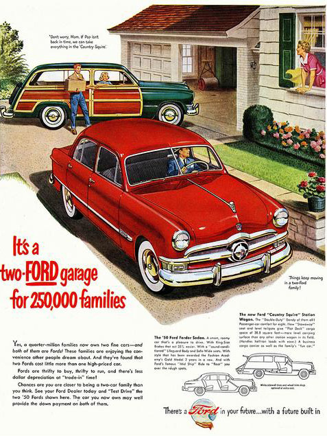 It's a two Ford garage for 250,000 families, 1950