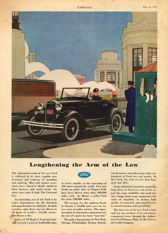 Ford lengthening the arm of the law, 1931
