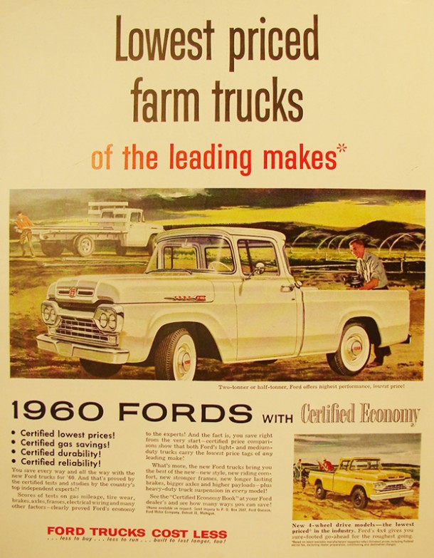 Lowest priced farm trucks of the leading makes, 1960