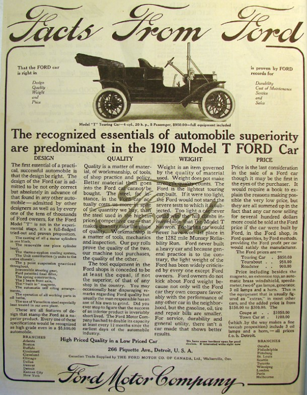 Ford model T (Tin Lizzie), 1909