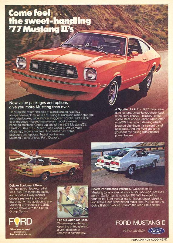 Come feel the sweet-handling '77 Mustang II's, 1976