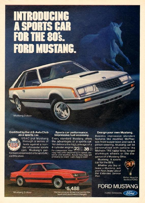 Introducing a sports car for the 80s. Ford Mustang, 1980