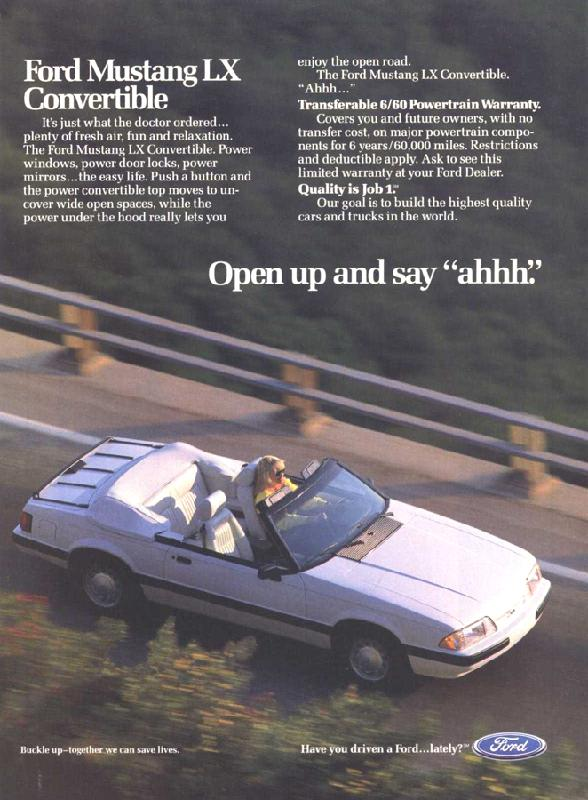 Ford Mustang LX Convertible, 1989