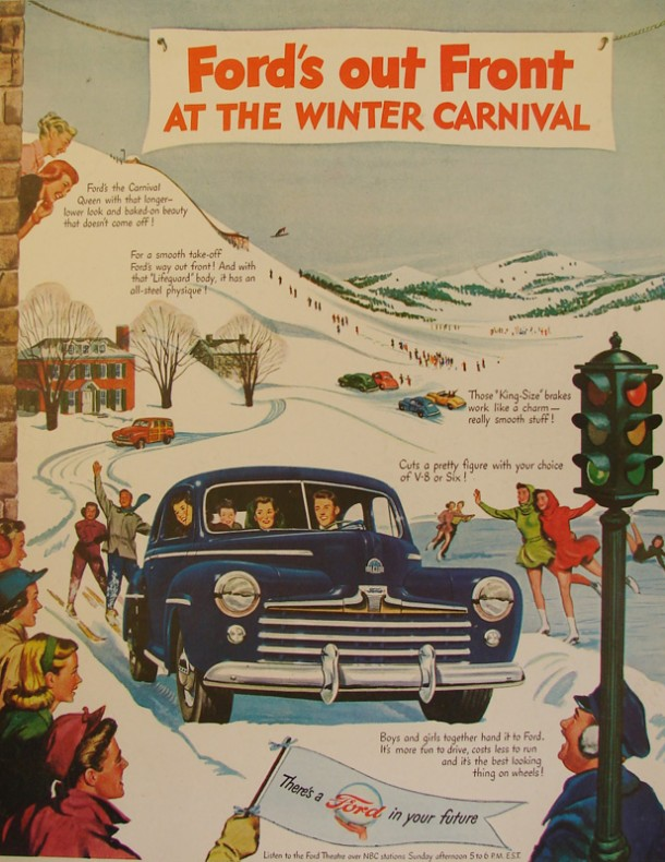Ford's out front at the winter carnival, 1948