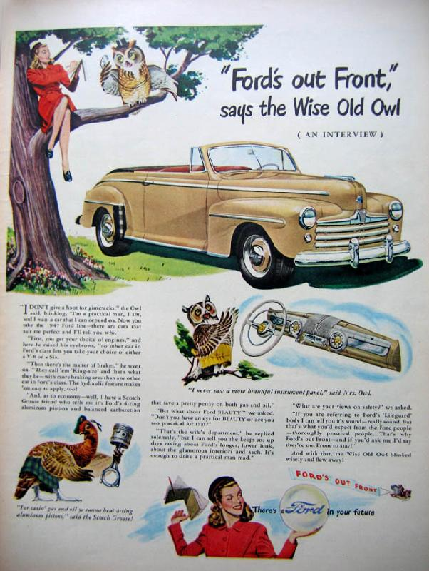 Ford's out front, says the wise old owl, 1948