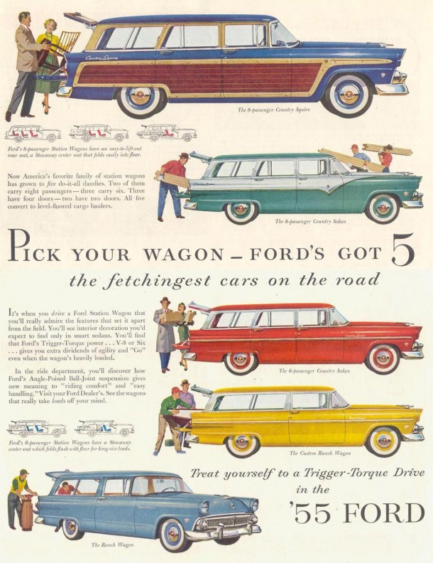 Pick your wagon... Ford's got 5 the fetchingest cars on the road, 1955